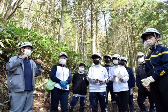 授業通じて林業を学ぶ 幕別忠類中の生徒が現場見学