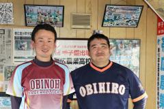 西川雄太郎新監督(左)と副部長となった前田康晴前監督