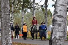 シラカバ並木を見ながら乗馬を楽しむ参加者(13日午前10時45分ごろ、帯広畜産大学構内)