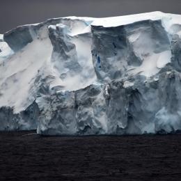 高さ50メートルほどの高さを持つ氷山が航行中にも多数現れる(12月15日)