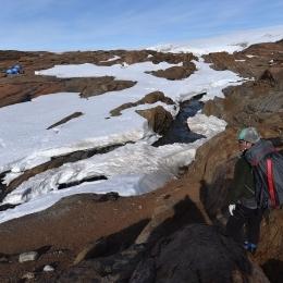 南極でもルンドボークスヘッタの調査地付近では小川が流れる(7日)