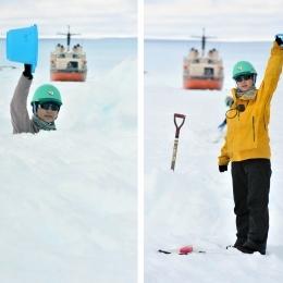 雪面を掘る前の高村友海隊員(右)と掘った後(左)