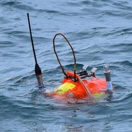 海底から浮上してきた圧力計