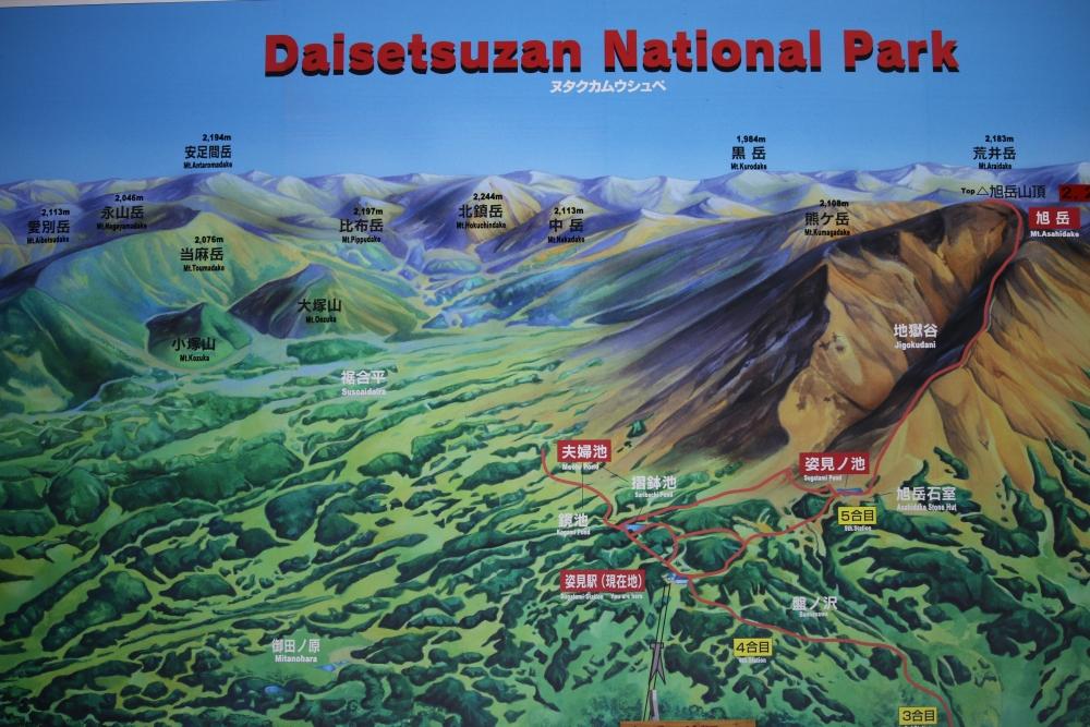 姿見駅にあるマップ。今回は旭岳から登り、熊ヶ岳を通り中岳から裾合平を巡った。